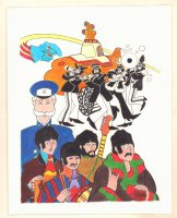 The Beatles Yellow Submarine Color Commission - Signed Comic Art