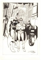 Batman, Robin, & Batgirl in Gotham City - Signed Comic Art