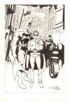Batman, Robin, & Batgirl in Gotham City - Signed Comic Art
