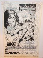 New Teen Titans, The #14 p.1 - Arella - 'The Light Within...the Dark Without!' Title Splash - 1985 Comic Art