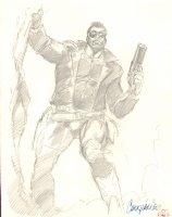 Black Cross Pencil Piece - 1990 Signed Comic Art