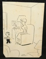 Child Talking to Mother Gag - Signed Comic Art