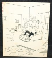 Child Talking to Parents Gag - Signed Comic Art