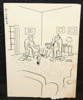 Kid Talking to Stressed Out Parents Gag - Signed Comic Art