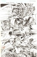 Black Panther #6 p.5 - Female Black Panther Shuri Action vs. Morlun - 2009 Signed Comic Art