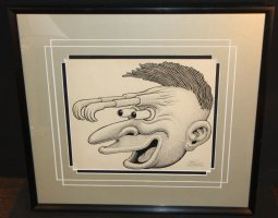 Surreal Portrait of a man with Hands for Eyebrows - Signed Comic Art