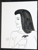 Babe with Hammer Drawing - 2017 Signed Comic Art
