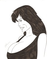 Babe with Huge Boobs Commission - 2015 Signed Comic Art