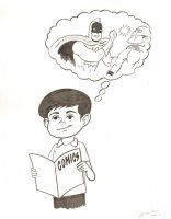Kid Reading a Comic Book Commission - 2014 Signed Comic Art