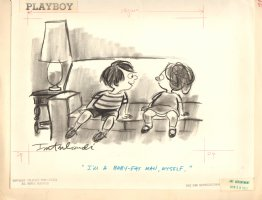 Playboy Published Cartoon - ''I'm a Baby Fat Man Myself'' - 1971 Signed Comic Art
