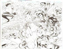 R.E.B.E.L.S #6 pg 2 & 3 Double Page Splash All Action ~ Signed  Comic Art