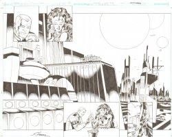 R.E.B.E.L.S #24 pg 2 & 3 - Romantic Double Page Splash ~ Signed  Comic Art