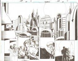 R.E.B.E.L.S #24 pg 6 & 7 - Double Page Spread Romantic City Scape ~ Signed  Comic Art