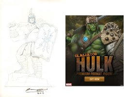 Gladiator Hulk Pencil Deisgn Art for Sideshow Figure - 2014 Signed Comic Art