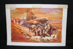Western Gunfight Scene Painted Art - 1970's Comic Art