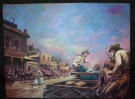 Jim Steel: Die of Gold #2 Book Painted Art Wraparound Cover - LA - Western Action - 1970s Comic Art