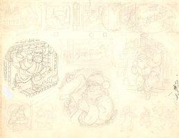 Santa Claus Full Pencil ''Night Before Christmas'' Layout Comic Art