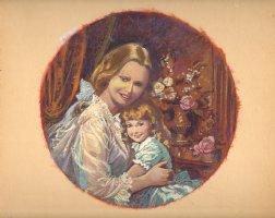 Victorian Mother & Child Painted Portrait Comic Art