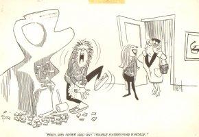 Hippie Sculptor Gag Signed - 1965 Comic Art