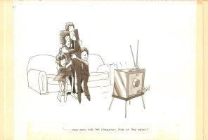 Tv News Gag Signed - True Magazine - 1970  Comic Art