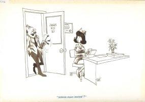 Doctor With Sexy Secretary Gag Signed - True Magazine -1970 Comic Art