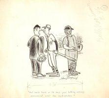 Funny Baseball Gag Art 1972 (10.5 x 12 Comic Art