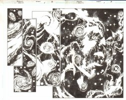 Trinity #1 pg 2 & 3 - DPS - Galaxies and Space Face Signed by Mark Bagley Comic Art