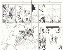 All-New X-Men #1 pgs. 2 & 3 - Angel Saves X-23 Wolverine (Laura Kinney) from Skiing Fall DPS - 2016 Signed Comic Art