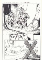 All-New X-Men #11 p.4 - En Sabah Nur (Apocalypse) and Genesis (Kid Apocalypse Clone) Ride in on Horseback to Find Beast Crucified in Ancient Egypt 1/2 Splash - 2016 Signed Comic Art