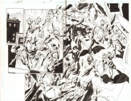 Trinity #25 pgs 2 & 3 - Justice Society International vs. Green Arrow, Armored Lex Luthor, & Others DPS- 2008 Signed by Mark Bagley Comic Art