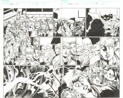 BBDO Campbell's Diversity: Ultimate Spider-Man/Ultimate X-Men #1 pgs. 6 & 7 - Storm Calls Lightning at High School DPS - 2009 Signed by Mark Bagley Comic Art