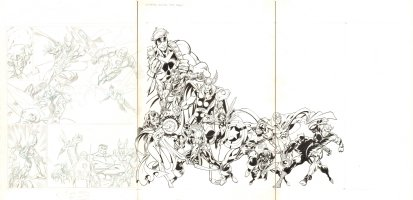 Universal Studios Restaurant Menu 3 Page Artwork - Awesome Avengers Team: Captain America, Iron Man, Giant-Man, Scarlet Witch, Hawkeye, Wasp, Vision, Black Panther, Quicksilver, Black Knight, Hulk, & Loki