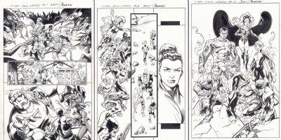 X-Men Gold - Marvel Legacy Primer Pages Digital Freebie Complete 3pc SET - Team vs. Brood and Sentinels - Awesome Team Splash: Colossus, Storm, Old Man Logan (Wolverine), & Nightcrawler - 2017 Signed