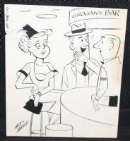 Man and Woman at Grogan's Bar - Signed Comic Art