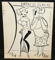 Young and Old Women at Dress Shop Gag - Signed Comic Art