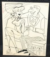 Man and Women with Drinks Gag - Signed Comic Art