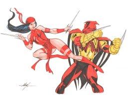 Elektra vs. Azrael Color Commission - 2014 Signed Comic Art