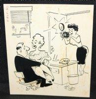 Boss Caught with Secretary on Lap Gag - Signed Comic Art