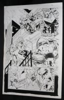 Avengers #? p.13 - LA - Giant-Man, Rogue, & Beast Action Splash - 1990s Comic Art