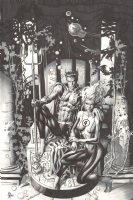 Prince Namor the Sub-Mariner on Throne with Sue Storm Underwater Commission - Signed Comic Art