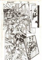 Elektra #17 p.16 - Elektra vs. Kuroyama Skyscraper Action - 1998 Signed Comic Art