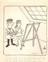 Artist / Model Gag - 1973 Strip  Comic Art