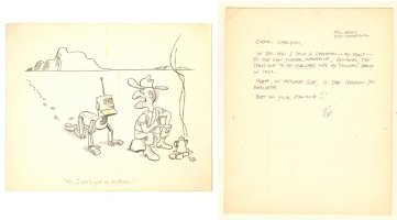 Robot Lost in the Desert Gag - From the Sheldon Moldoff Collection with Letter on Back - Signed Comic Art