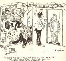 Happy New Year Ongoing Party - Late 1950's Comic Art