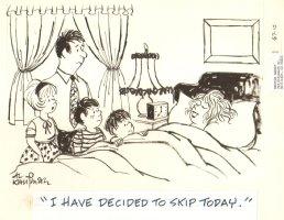 Mom Takes day Off Gag - Late 50's Humorama  Comic Art