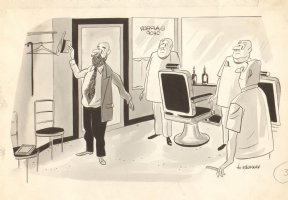 Hairy Man Tie in Barber Shop B&W Art - True Mag 1950 Comic Art