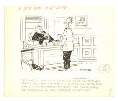 Asking Boss for Raise Humorama Gag - 1960s Signed Comic Art