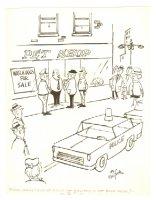 Pet Burglary Police Watchdogs Humorama Gag - 1965 Signed Comic Art