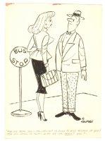 Babe at Bus Stop Humorama Gag - Signed Comic Art