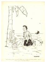 Marooned Mink Coat Humorama Gag - 1957 Signed Comic Art